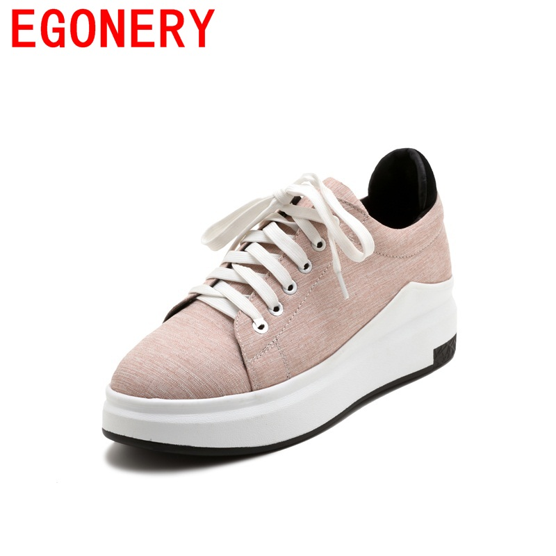 EGONERY big size cloth campus style movement wedges lace-up woman shoes common solid round toe appointment daily spring shoes