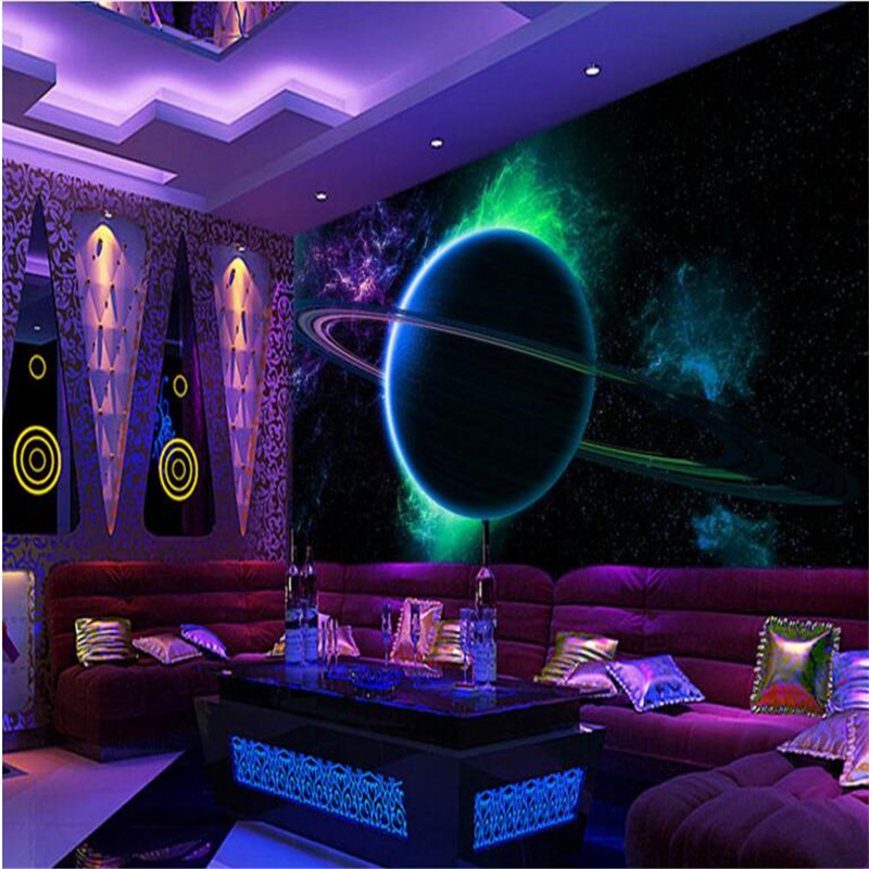 Beibehang Large Custom Wallpaper 3D Cool Luminous Sphere Star Cosmic Background Wall Papel De Parede Para Sala Estar