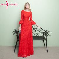 Beauty Emily Red Lace Long Mother of Bridal Dresses 2019 Vestidos de noite A line Sleeve Wdding Party Prom Dresses