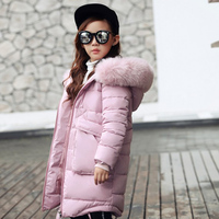 2018 New Girls Long Padded Jacket Children Winter Coat Kids Warm Thickening Hooded down Coats For Teenage Outwear