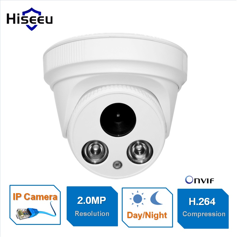 Hiseeu 1080P 2.0MP CCTV IP Camera Family Mini Dome Security ONVIF 2.0 indoor IR CUT Night Vision P2P Remote Freeshiping HCR6 audio 2 0mp 1080p ip dome camera onvif p2p 24ir night vision indoor security