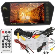 7 Inch TFT LCD Bluetooth Car MP5 Player Parking Rear View Mirror Monitor + Backup Reversing Assistant HD Waterproof Camera