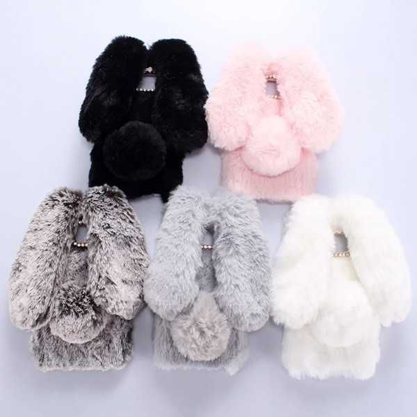 3D Rabbit Bunny Case for <font><b>Samsung</b></font> Galaxy A8S A10 A20 A30 40 <font><b>A50</b></font> A70 M10 M20 New Artificial Fur Cony Hair Soft Silicone <font><b>Back</b></font> <font><b>Cover</b></font> image