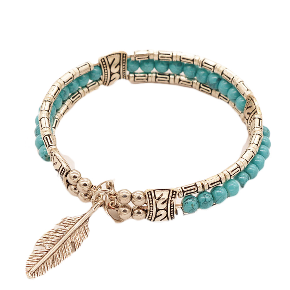 Fashion 2018 Tibetan Silver Jewelry Feather Gypsy Women Vintage Bangle Bohemian Bracelet Women
