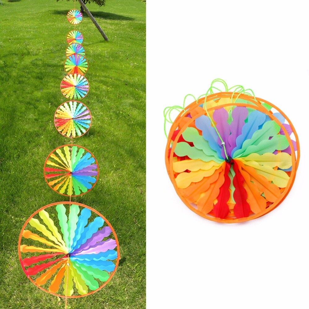 1Pc Rainbow Wheel Windmill Wind Spinner Whirligig Garden Home Lawn Decoration Kids Toy 328 Promotion %312