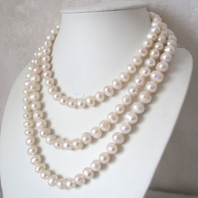 Wholesale 50 9-10mm White Freshwater Pearl Necklace AAAWholesale 50 9-10mm White Freshwater Pearl Necklace AAA