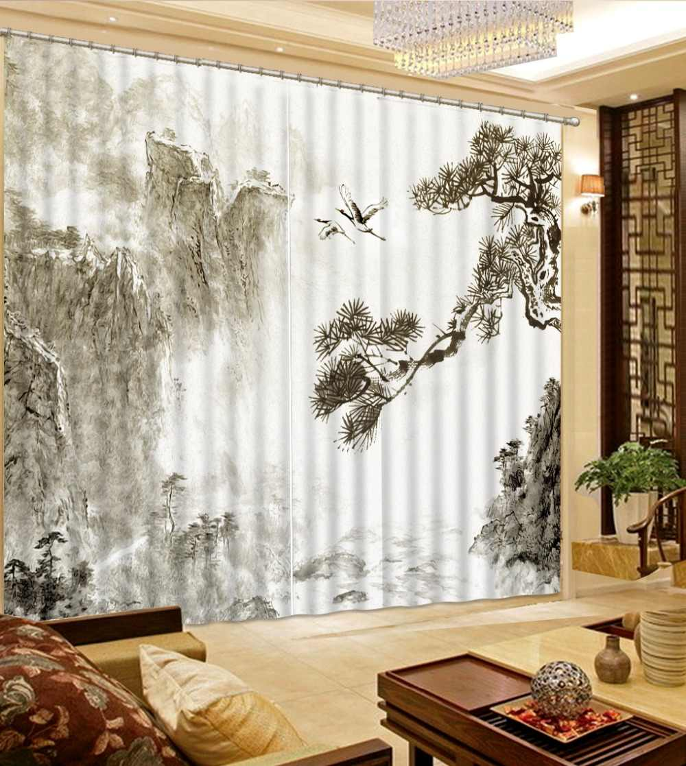 white window curtains black curtains Black and white landscape painting modern living room curtains