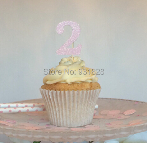 any age glitter birthday glitter cupcake toppers baby bridal shower tea party toothpick decor engagement