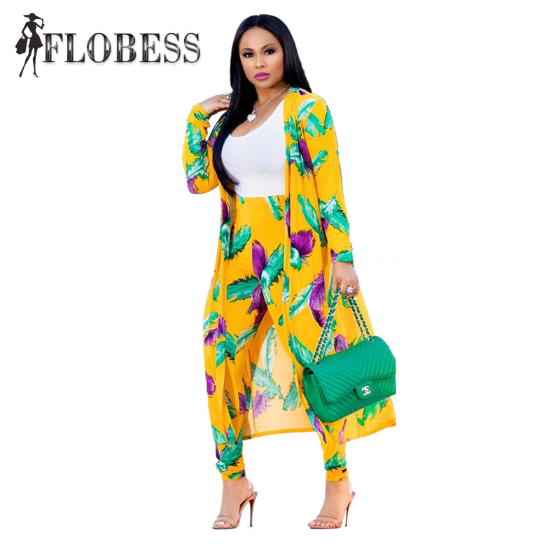 70802d4339e8 Flobess Women Fashion Flower Print 3 Piece Set Cape Coat + T Shirt Long  Pants New