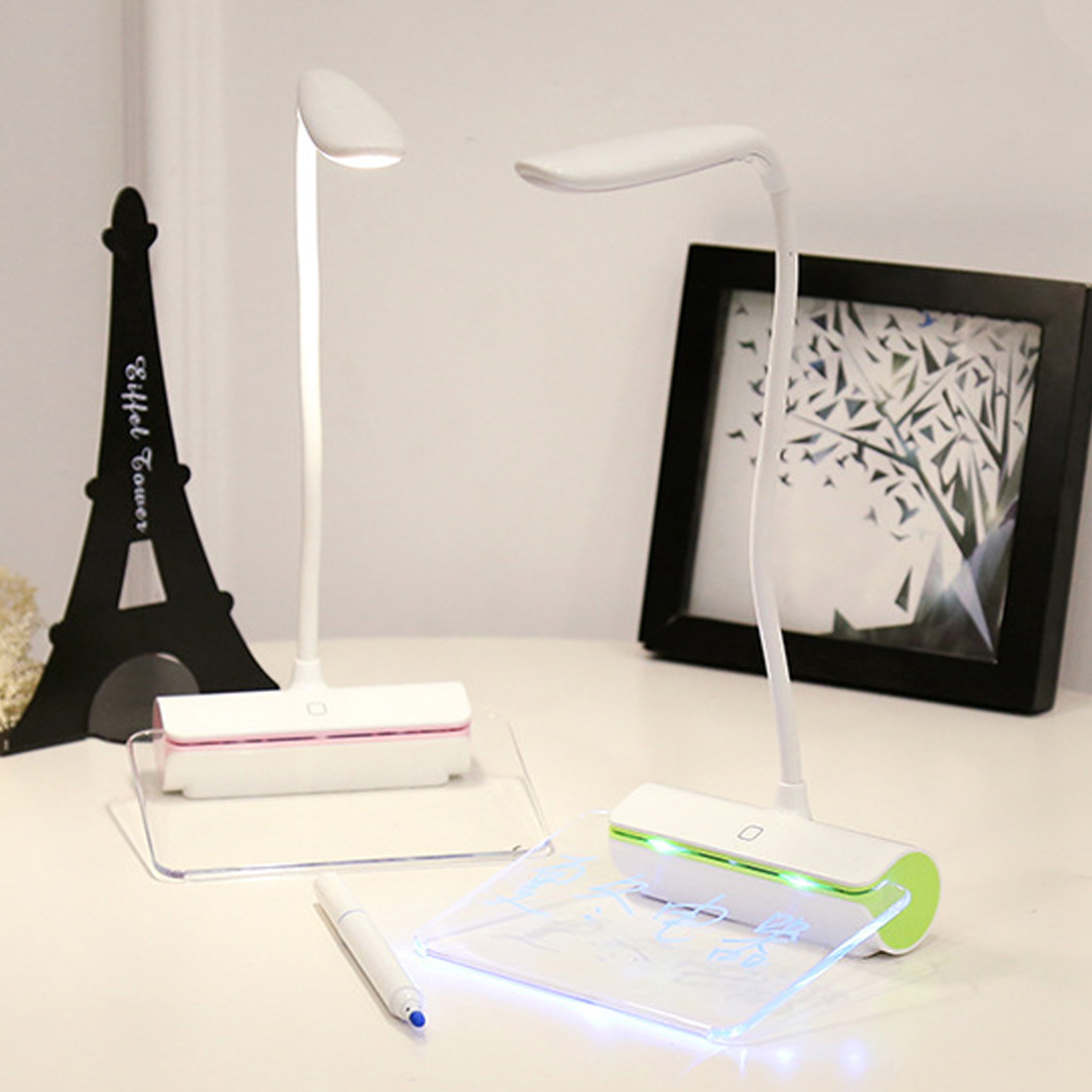 US $13 24 14% OFF New Design 1 5W Rechargeable Table Lamp LED Light Switch  USB charging fluorescent message board touch night light -in Night Lights