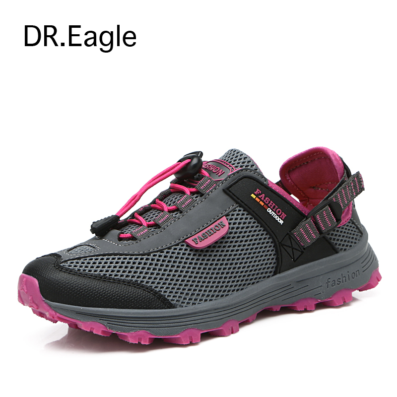 ФОТО DR.EAGLE women's hiking boots breathable mesh sports mountain climbing trekking women hiking shoes woman sneakers free shipping
