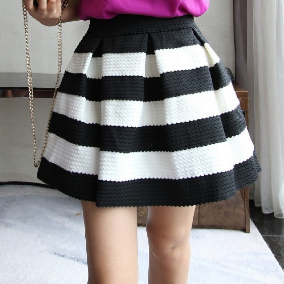 Online Shop 2014 Summer new pleated skater skirts women black and ...