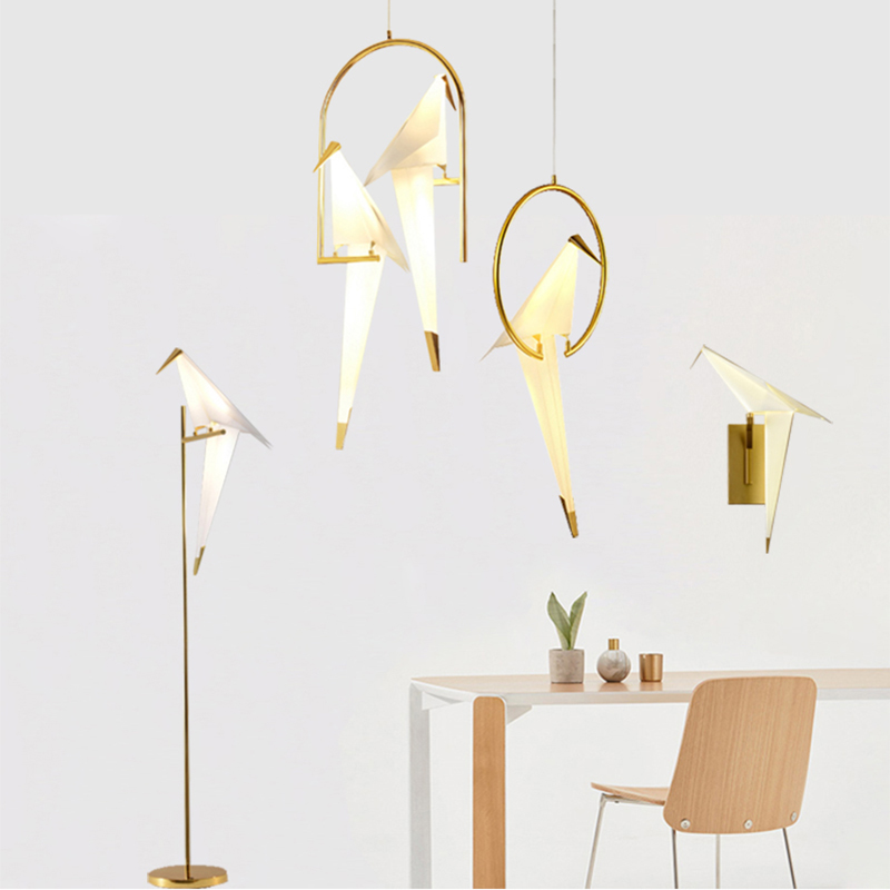 Nordic Modern Paper Crane Metal Chandelier For Restaurant Living Room Dining Room Children's Room  LED Bird Design Pendant Lamp