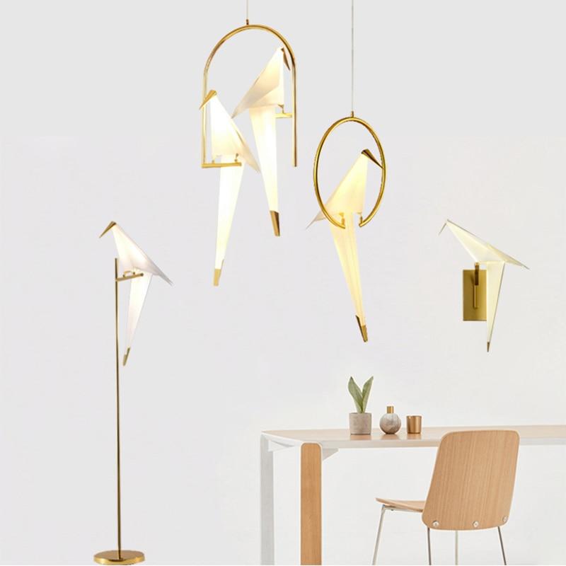 Nordic Modern Paper Crane Metal Chandelier For Restaurant Living Room Dining Room Children's Room  LED Bird Design Pendant Lamp