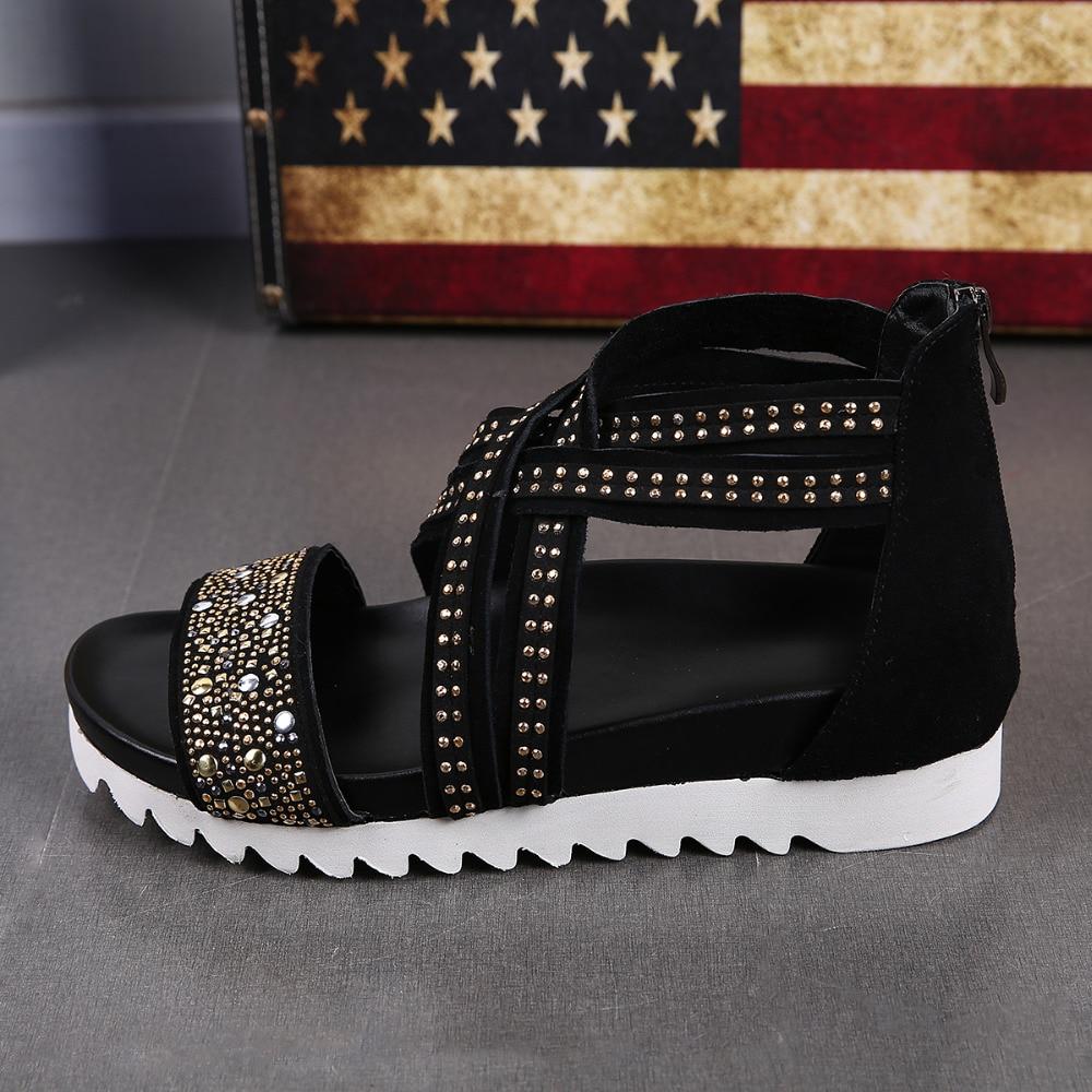 2018 New Cross Strap High Top Shoe Men Black Cut-Out Gladiator Cool Sandals Mens Comfortable Crystals Flat Sandals Summer