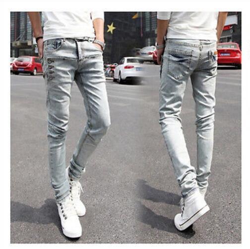 ФОТО 2016 New Wholesale Fashion Men's Stretch Korean Slim Fit Jeans Skinny Pants Size 27--36 Black Trousers Free Shipping