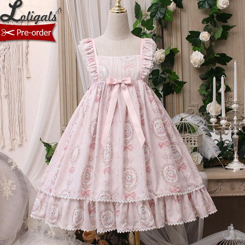 Kitten in the Frame Sweet Printed High Waisted Casual Lolita Dress by Alice Girl Pre order