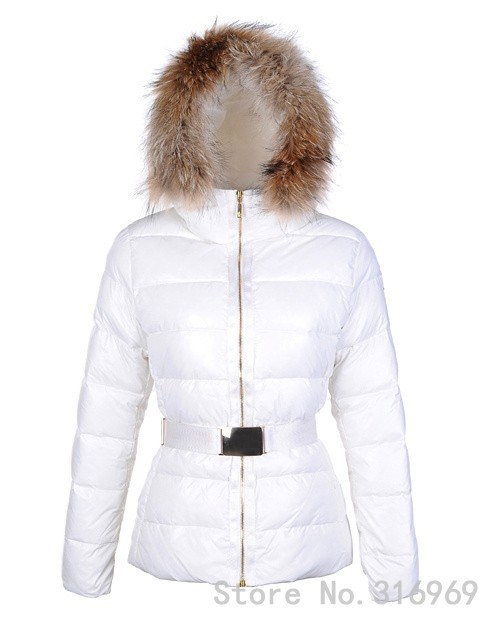 2014 Ladies White Angers Fur Jackets fabric waist belt fashion outdoor hooded overcoat slim style - Sunny boutique outlet store