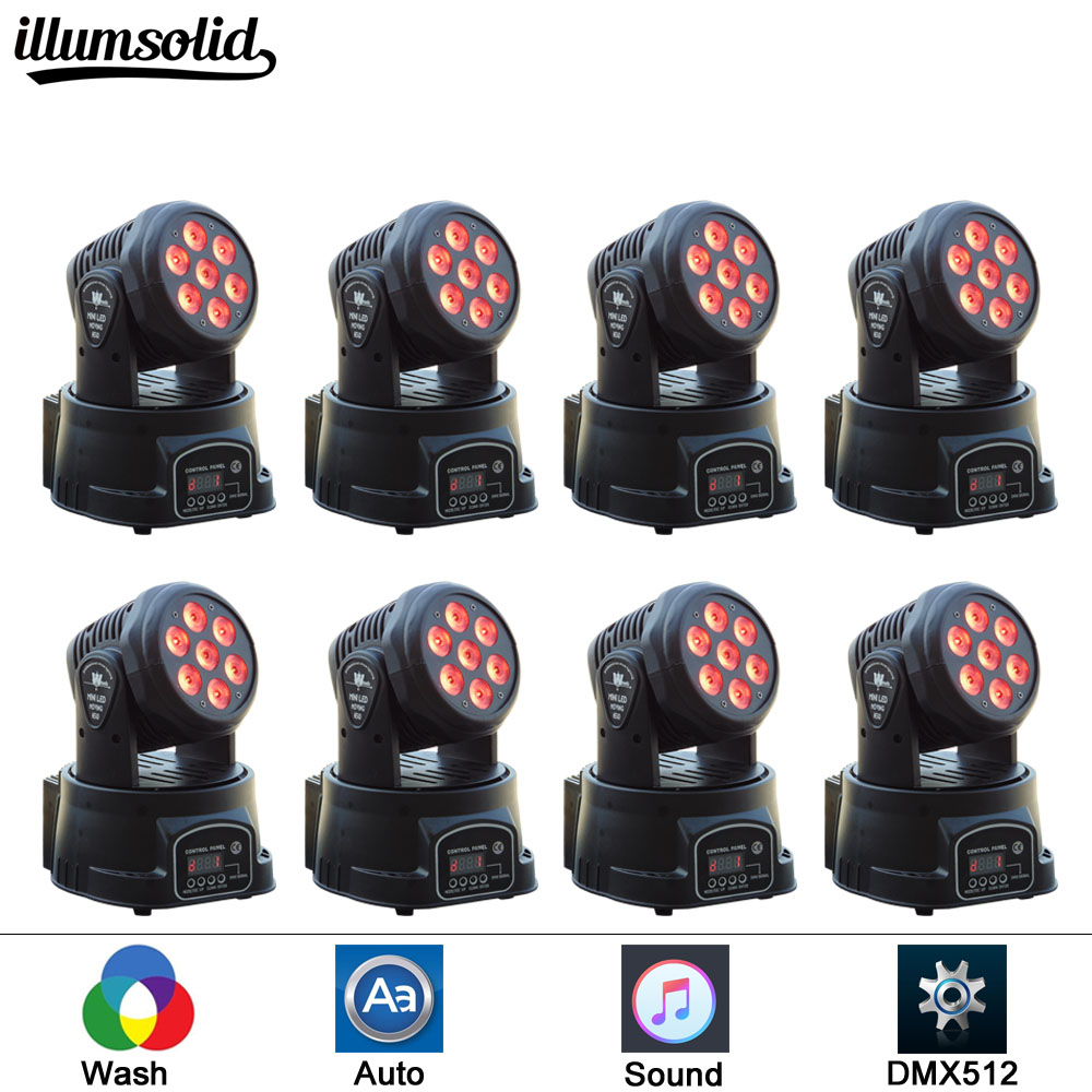 8pieces/lot LED Mini moving head light 7X12W moving wash dmx 512 led effect dj lighting 4pcs lot professional american dj led lighting led moving head light wash mini 7x12w rgbw dmx 7 12 channels