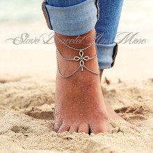 Antique Silver Cutout Flower Layered Chains Fashion Anklet Ankle Bracelet for Summer Women Jewelry CA050