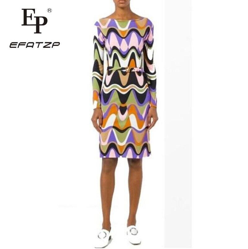 EFATZP najnowszy moda 2018 projektant sukienka damska z długim rękawem kolorowe geometryczne drukuj Stretch Jersey jedwabny pas dzień sukienka w Suknie od Odzież damska na  Grupa 1