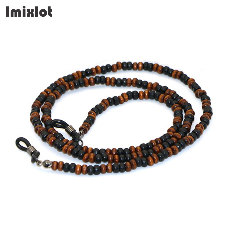Imixlot Handmade Wooden Beads Eyewears Chains Black&Brown Beaded Sunglass Eyeglass Lanyards Cord Holder Glasses Ropes For Women
