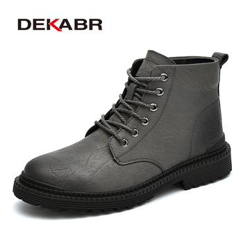 DEKABR Work Ankle Men Boots Fashion Winter Warm Shoes Black Casual Snow Boots Lace Up Male Genuine Leather Short Plush Boots
