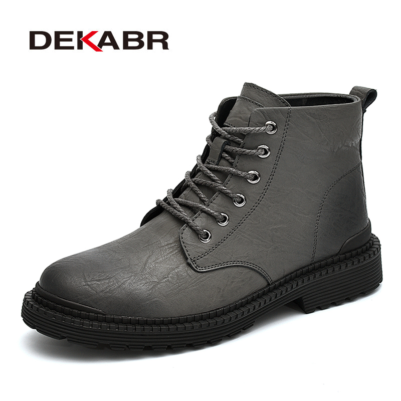 DEKABR Work Ankle Men Boots Fashion Winter Warm Shoes Black Casual Snow Boots Lace Up Male Genuine Leather Short Plush Boots roxdia men boots man shoes genuine leather ankle winter snow warm short plush lace up black blue plus size 39 46 rxm1001