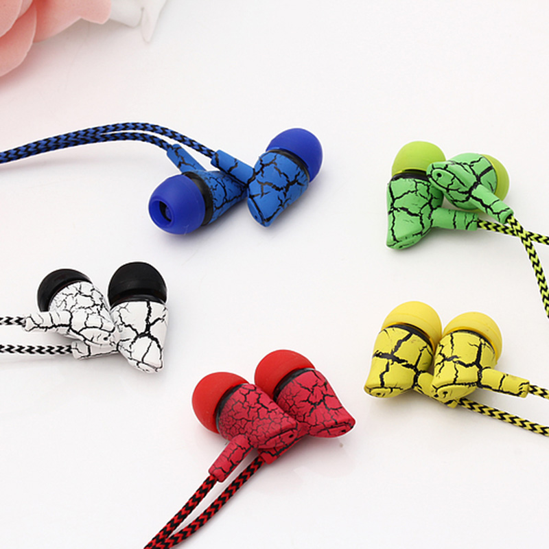 New Fashion Wired 3.5mm In-Ear Crack Earphone with Mic Stereo Music Headsets for IOS Android Phone