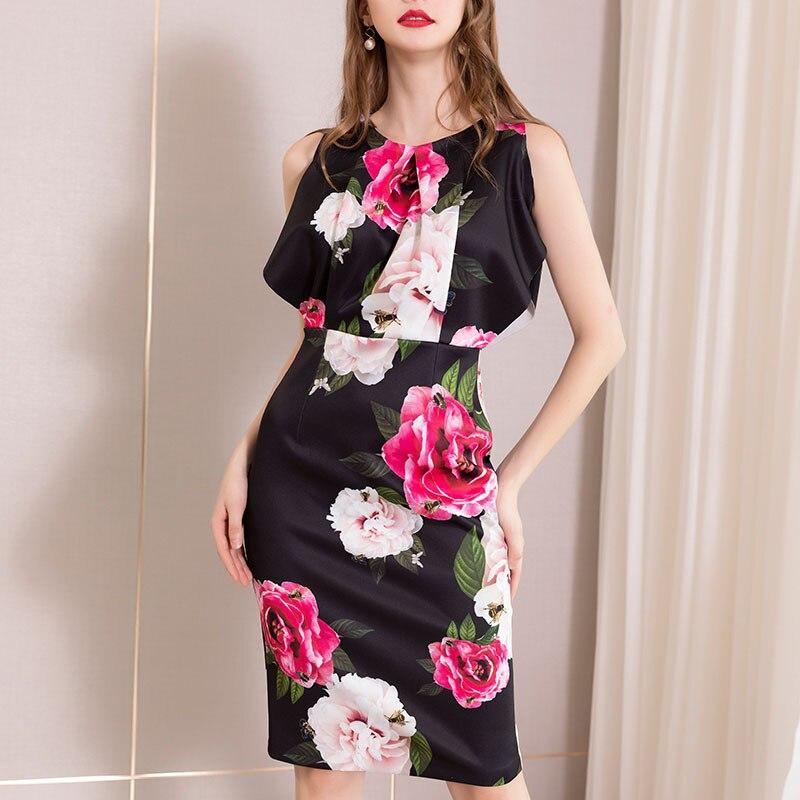 Midi crayon moulante robes bureau dames petite robe noire imprimé Floral été réservoir sans manches taille haute tunique Club sukienka