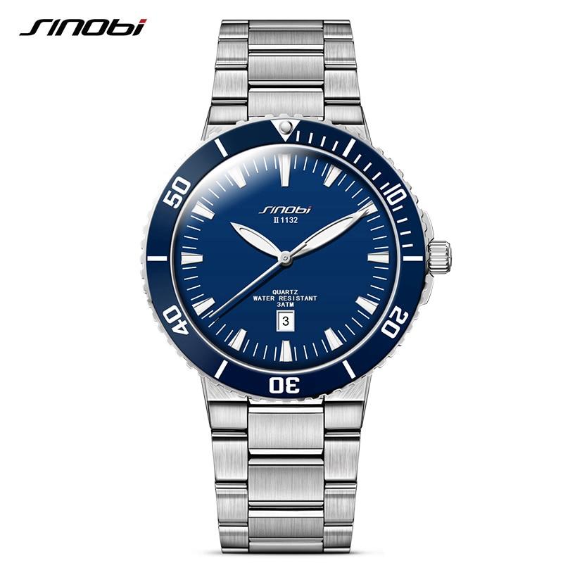 SINOBI Спортивні чоловічі багатофункціональні годинники з нержавіючої сталі Водонепроникний чоловічий кварцовий годинник Бренд швейцарський ремесло relogio masculino