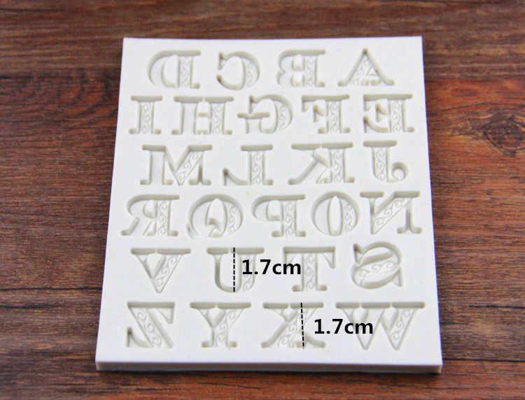 Novo delicado laço letras alfabeto silicone biscoito bolo moldes fondant cookie mousse molde de chocolate diy decoração do bolo h695