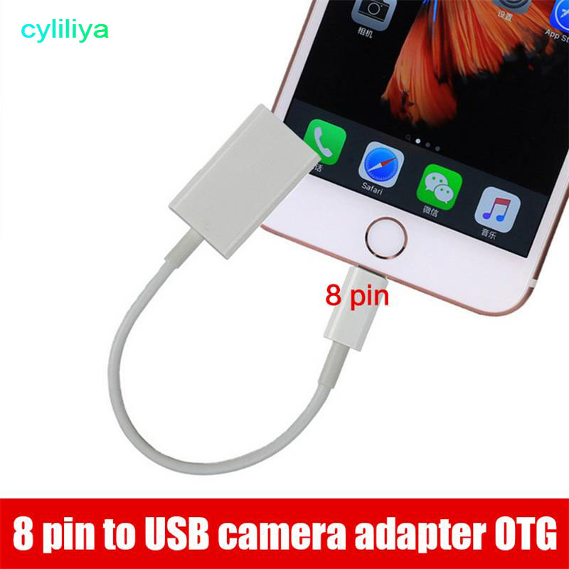 cyliliya 100pcs Wholesale 8 pin Male to USB Female OTG Adapter 8pin Cable For iPhone 7