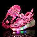 WHeely quente das Crianças Sapatos De Rolo com Rodas Crianças Led Light up Asa Sapatos Meninos Meninas Sapatilhas tenis de Incandescência Luminosa infantil