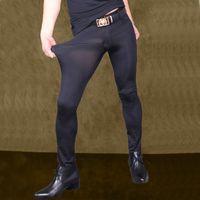 Sexy Men Transparent Pants Ice Silk See Through Elastic Tight Trousers Silky Pencil Pants Erotic Lingerie