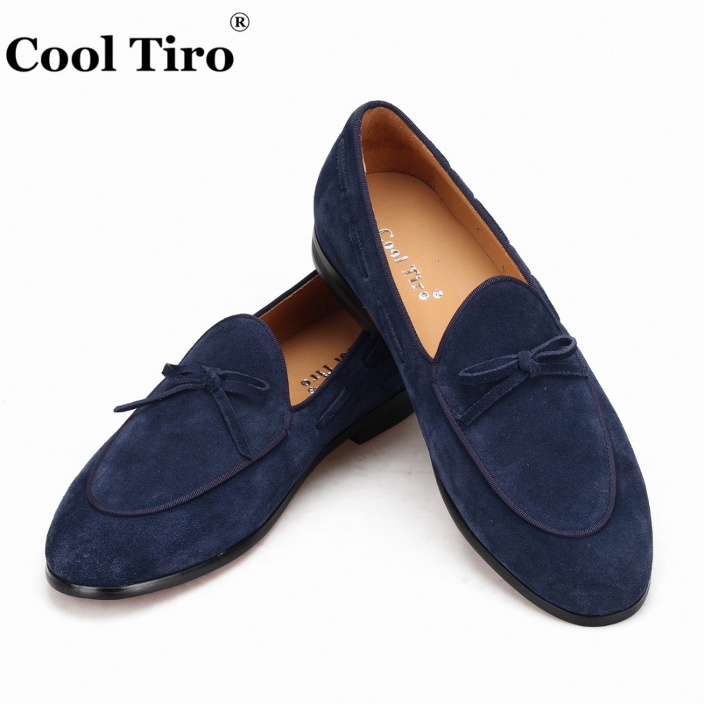 Cool Tiro Dark Blue Suede Belgian Loafers Men Dress Shoes Bow Men s Moccasins Smoking Slippers