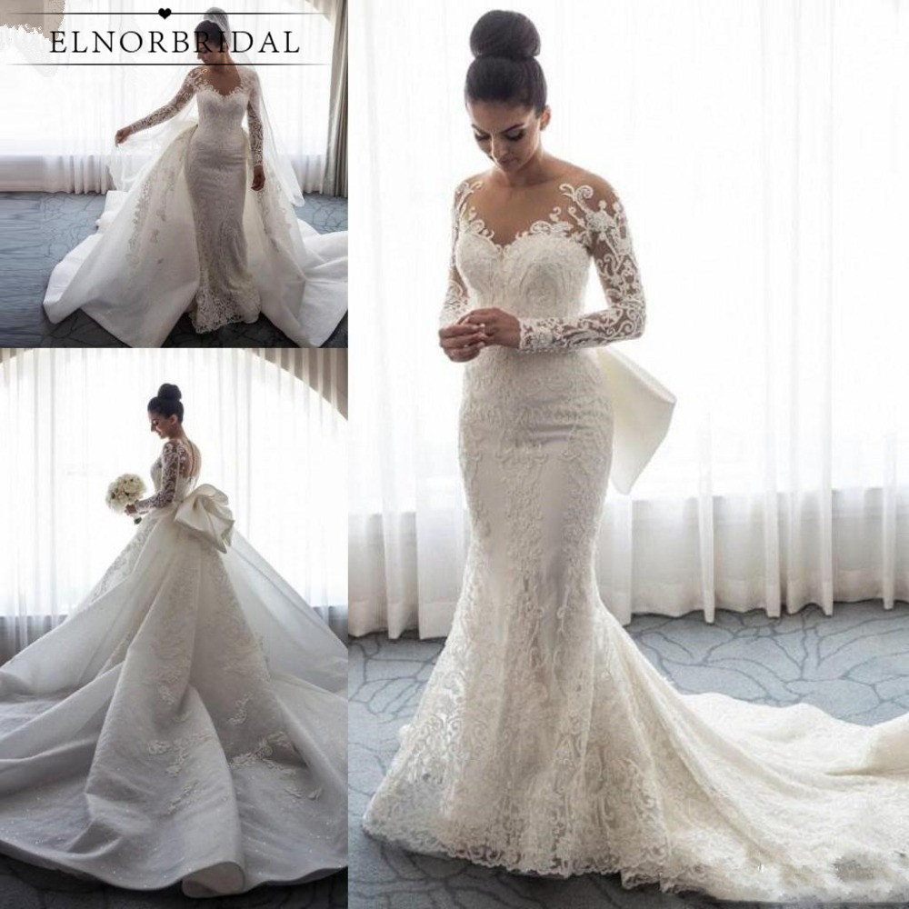 Vintage Mermaid Lace Wedding Dresses 2019 Detachable Train Vestidos De Novia Long Sleeve Bridal Gowns Custom