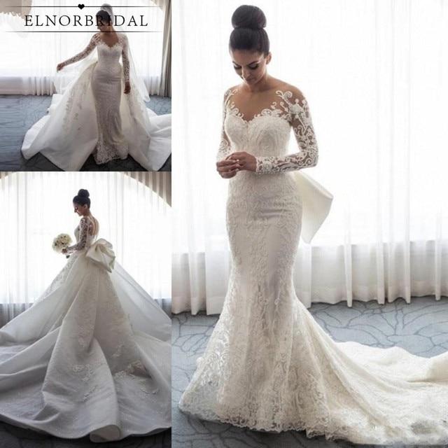 0da9a80c49 Vintage Mermaid Lace Wedding Dresses 2019 Detachable Train Vestidos De Novia  Long Sleeve Bridal Gowns Custom Made Trouwjurk