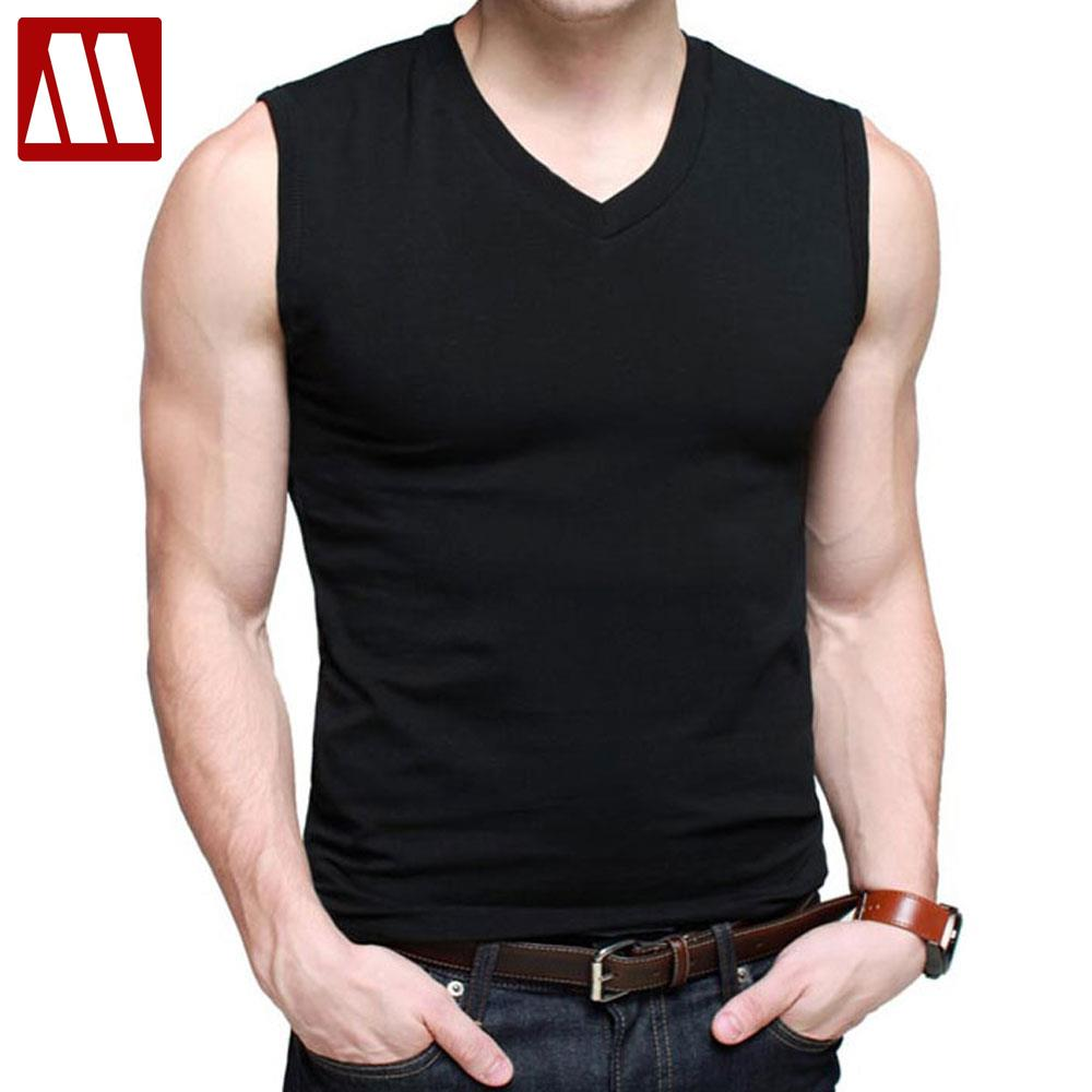58ffdbaf88e Mens Cotton T Shirts V Neck Short Sleeve Summer Fashion Male Muscle Tank Shirts  Top Tees European Style Slim Fit Free Shipping-in T-Shirts from Men s ...