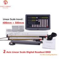 2 Ось линейная весы линейный кодер 400 мм и 500 16 20 с 110/240VAC устройство цифровой индикации Комплект для провода резка машины