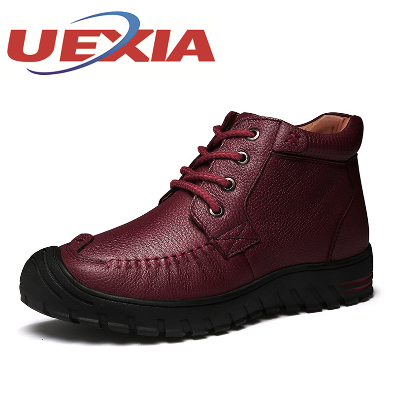 Winter New Women Ankle Boots Mothers Wram Shoes Lace Up Outdoor Snow Boots Autumn Fashion Women Genuine Leather High Top Boots new arrival girl full leather boots spring autumn casual snow high top genuine leather boots women shoes a443