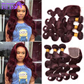 7A Peruvian Virgin Hair Bundles Body Wave With 4x4 Lace  Closure Human Hair With Closure  #99J Body Wave With Closure