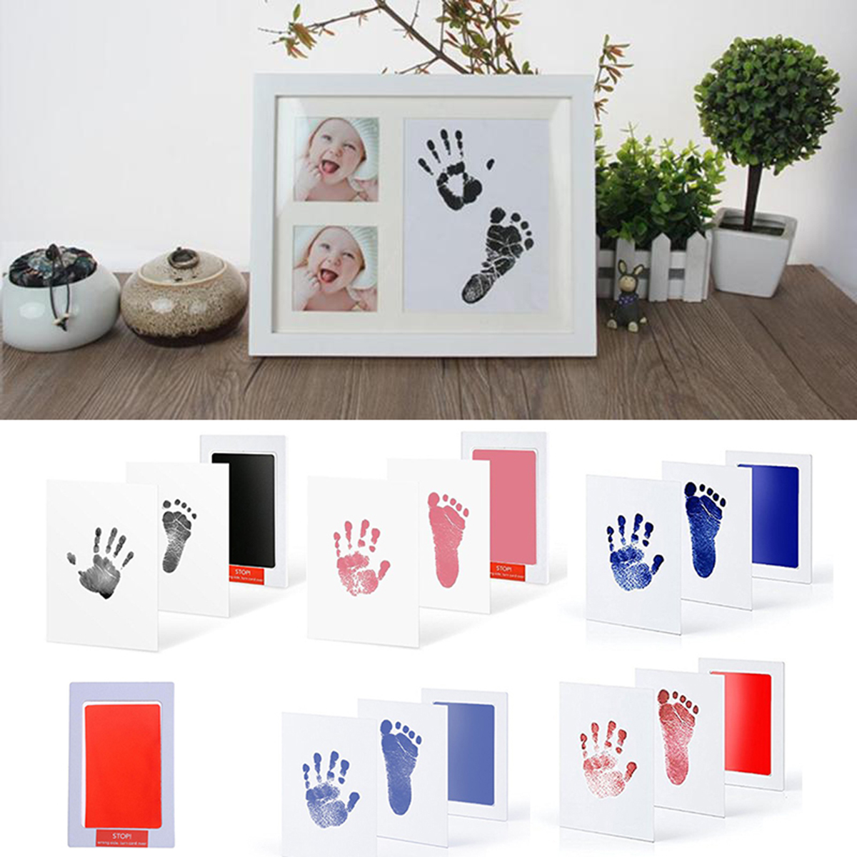 Baby Care Non-Toxic Baby Photo Frame DIY Handprint Footprint Imprint Kit Baby Souvenirs Casting Clay Print Newborn Ink Pad Toys