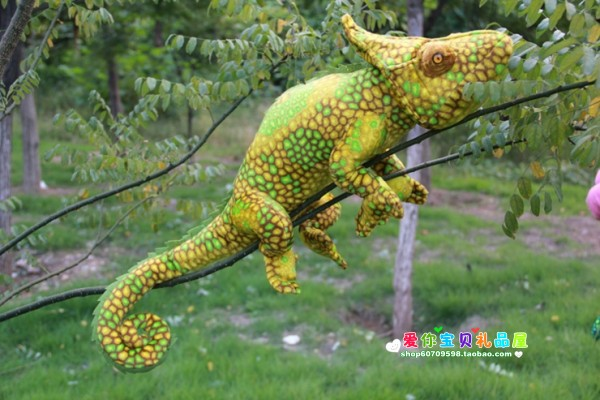 ФОТО plush chameleon toy simulation new creative yellow chameleon doll gift about 70cm
