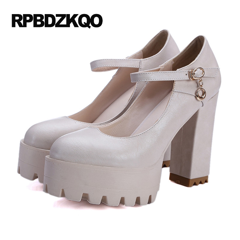 Round Toe Beige Women Extreme Ultra Size 4 34 Ankle Strap Pumps Super Platform High Heels Discount Thick Shoes Casual Trendy