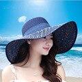 1 шт. женщин пляжные шляпы Шапки 2017 Летняя Мода Складная Шифон Флоппи Вс Шляпы Случайные Дамы сомбреро бантом шляпа дамы