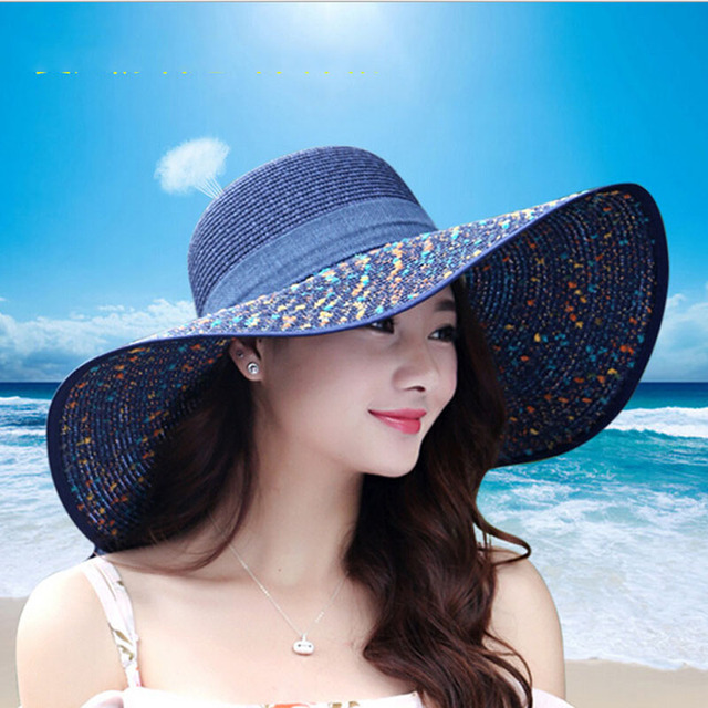 673d2e5a 1 pcs Women's beach hats Caps 2019 Summer Fashion Foldable Chiffon Floppy  Sun Hats Casual Ladies sombreros bowknot hat Ladies