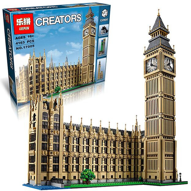 2016 New LEPIN 17005 4163Pcs City Creator Big Ben Model Building Kit Blocks Bricks Compatible Children Toy Gift 10253 lepin city creator 3 in 1 beachside vacation building blocks bricks kids model toys for children compatible with lego gift kid