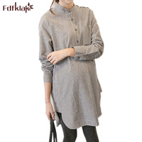 Fdfklak Spring Autumn New Maternity Fashion Clothes For Pregnant Women Long Loose Half Open Buckle Pregnancy Shirt F379