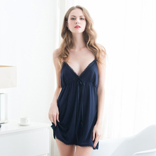 2019 New Womans Sleeveless Mini Nightgown Modal Night Gown Ladies Nightdress Sexy V-Neck Home Wear Nightshirt
